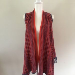 Say What Red & Navy Blue Sleeveless Vest Cardigan